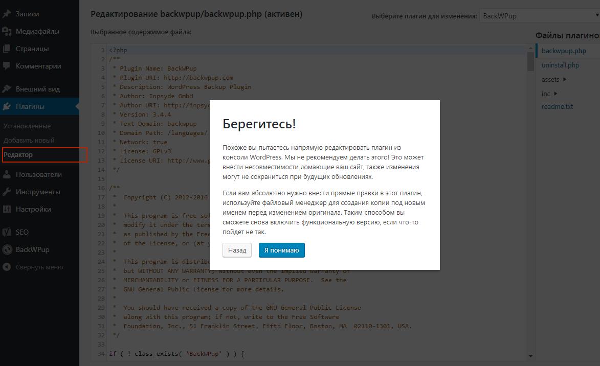 Нельзя редактировать темы wordpress из админки - ObjectOne